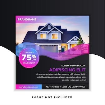 Modelo de design de banner imobiliário quadrado abstrato