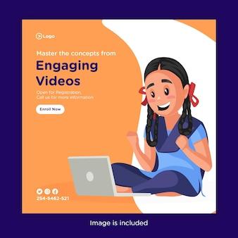 Modelo de design de banner para dominar os conceitos de vídeos envolventes