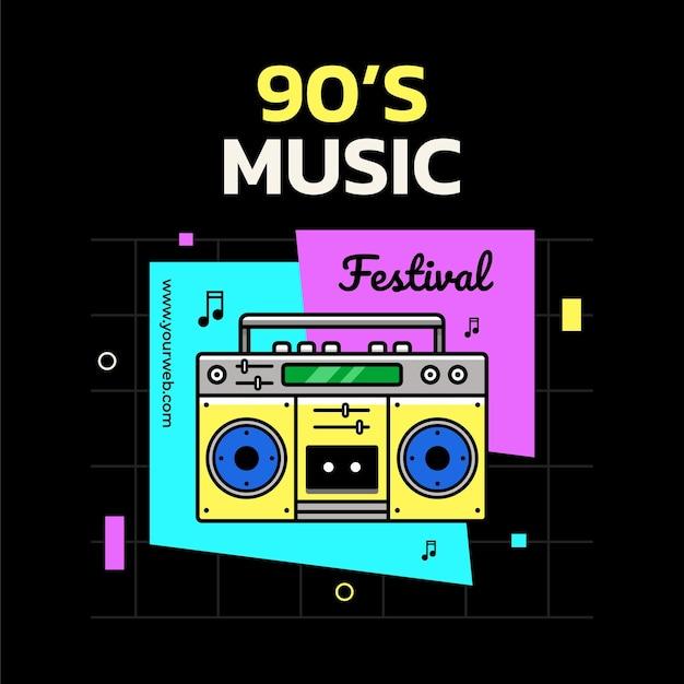 Modelo de design de banner para festival de música dos anos 90