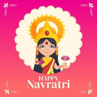 Modelo de design de banner para festival indiano happy navratri
