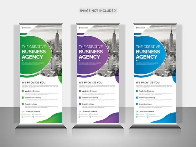 Modelo de design de banner pullup ou rollup de negócios corporativos