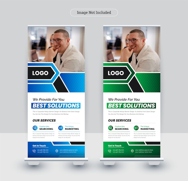 Modelo de design de banner roll-up corporativo.