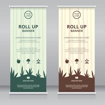 Modelo de design de banner roll up moderno com tema de natureza
