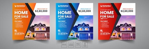 Modelo de design de banner social de venda em casa