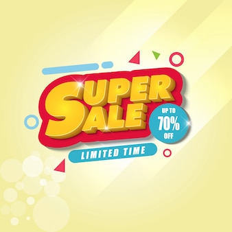 Modelo de design de banner super venda com fundo amarelo