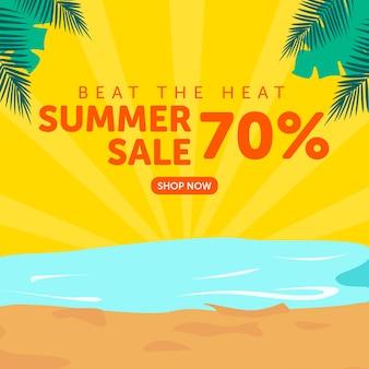 Modelo de design de banner superado pela promoção de verão
