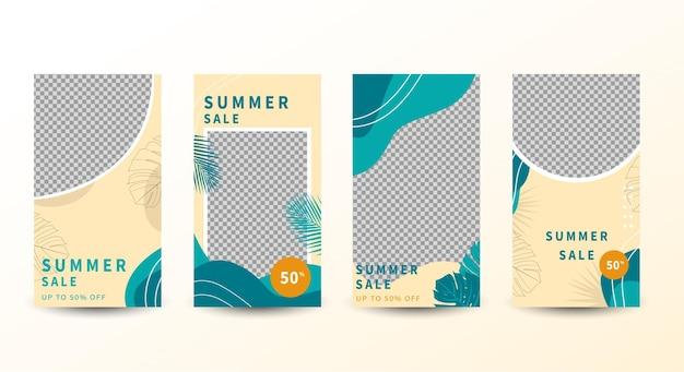 Modelo de design de banner tropical de venda de verão com folhas de palmeira