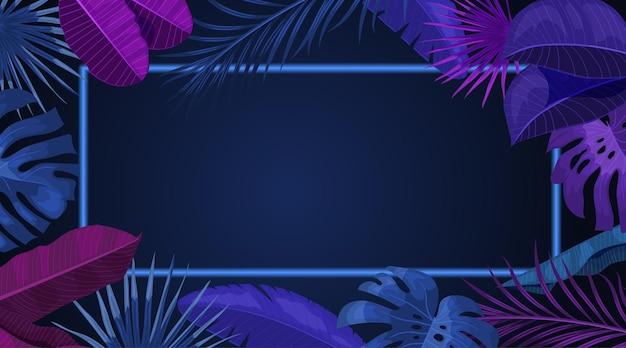 Modelo de design de banner tropical. tema de néon escuro com moldura brilhante fina. palma, folhas de monstera. melhor para convites, folhetos, cartazes de festas. ilustração vetorial.