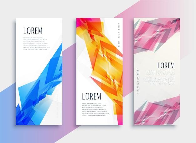 Modelo de design de banner vertical da web de estilo abstrato