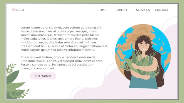 Modelo de design de banner web ambiental com uma garota no fundo do planeta terra
