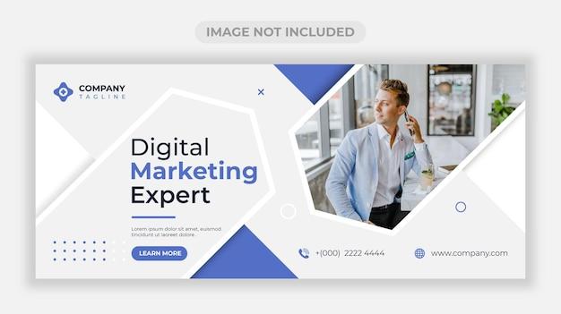 Modelo de design de banner web empresarial de marketing digital