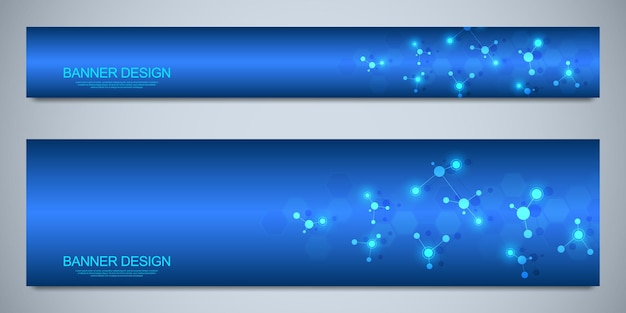 Modelo de design de banners com estruturas moleculares e rede neural Vetor Premium