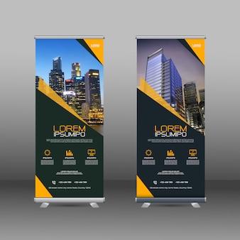 Modelo de design de banners com formas geométricas