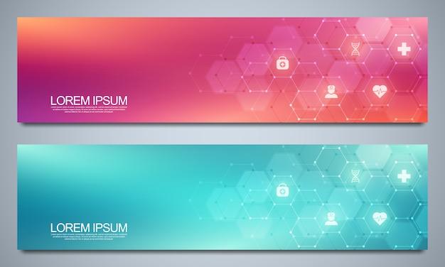 Modelo de design de banners para decoração de saúde e médica com símbolos e ícones planas. conceito de tecnologia de ciência, medicina e inovação.