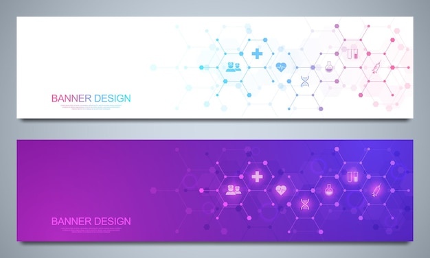 Modelo de design de banners para decoração médica e de saúde com ícones e símbolos planos