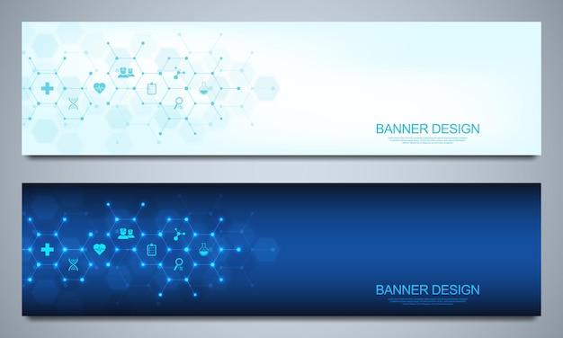 Modelo de design de banners para decoração médica e de saúde