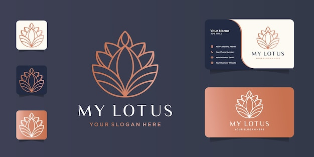 Modelo de design de beleza de linha de lótus de logotipo minimalista com cartão de visita.