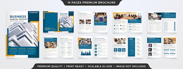 Modelo de design de brochura a4 com conceito moderno e minimalista para uso em relatórios e propostas anuais