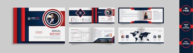 Modelo de design de brochura com 8 páginas de paisagem com formas e informações abstratas de gradiente em azul profundo e vermelho.
