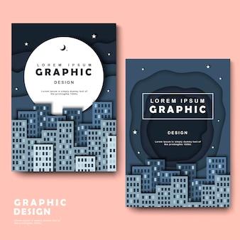 Modelo de design de brochura com cena urbana silenciosa, mas atraente
