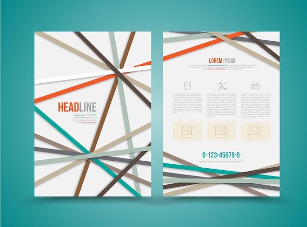 Modelo de design de brochura com cor de linha.