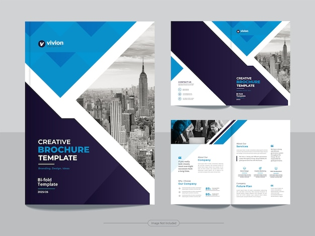 Modelo de design de brochura com duas dobras para agência de negócios corporativos