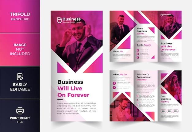 Modelo de design de brochura com três dobras cor rosa moderno abstrato negócios corporativos