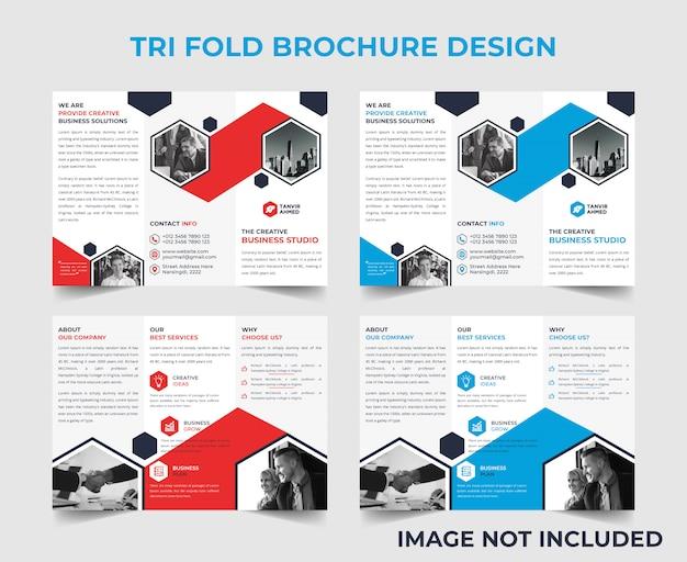 Modelo de design de brochura com três dobras corporativo