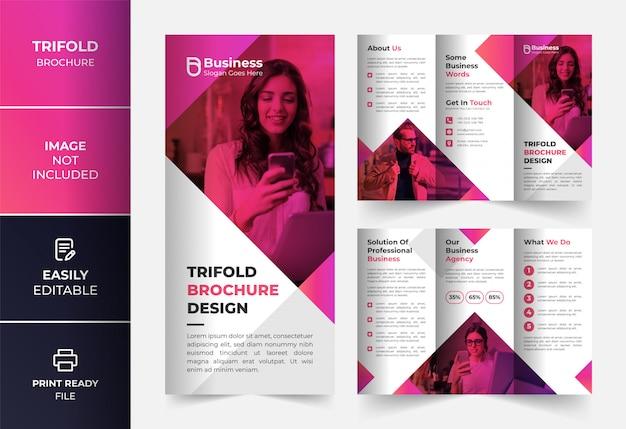 Modelo de design de brochura com três dobras de negócios corporativos abstrato rosa