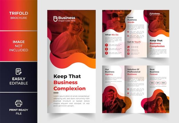 Modelo de design de brochura com três dobras de negócios corporativos de cor abstrata