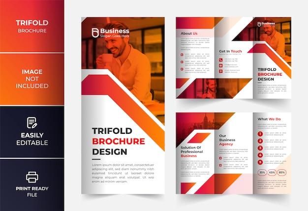 Modelo de design de brochura com três dobras de negócios corporativos laranja