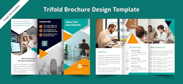 Modelo de design de brochura com três dobras de negócios