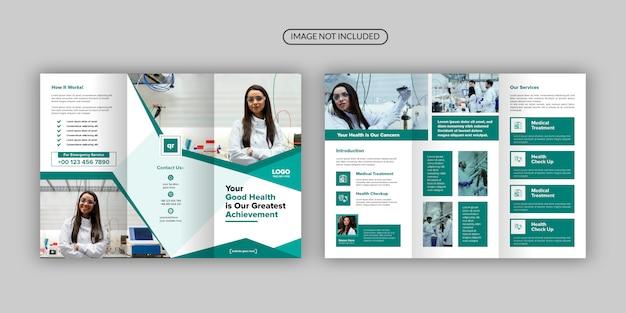 Modelo de design de brochura com três dobras de saúde e médico