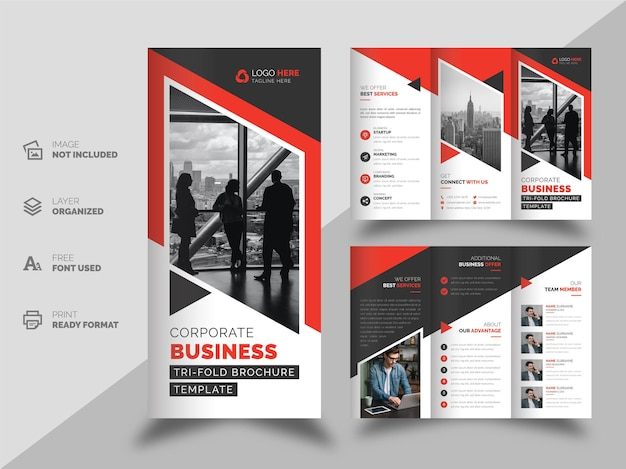 Modelo de design de brochura com três dobras para negócios corporativos de forma moderna criativa