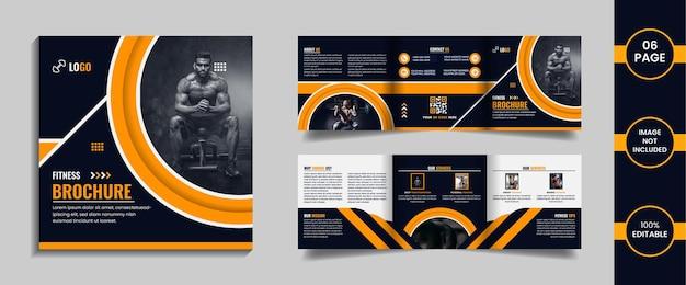 Modelo de design de brochura com três dobras quadradas de 6 páginas, ginásio, formas abstratas de cor amarela e dados.