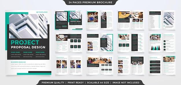 Modelo de design de brochura comercial a4 com layout minimalista e moderno
