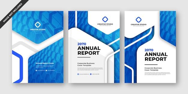 Modelo de design de brochura comercial de relatório anual azul elegante