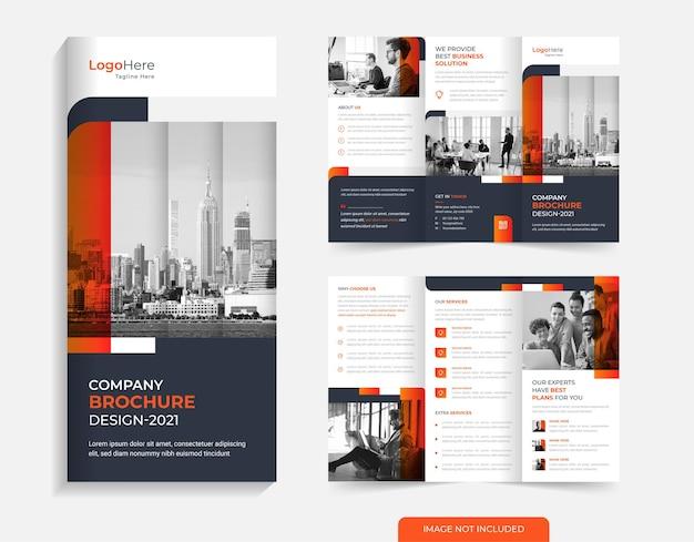 Modelo de design de brochura corporativa com três dobras vetor de formas modernas de cor laranja