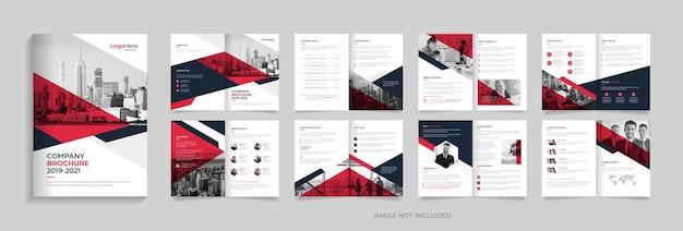 Modelo de design de brochura corporativa moderna de 16 páginas com vetor premium de design de layout moderno
