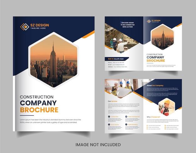 Modelo de design de brochura de construção atraente moderno com formas geométricas de cor amarela e preta