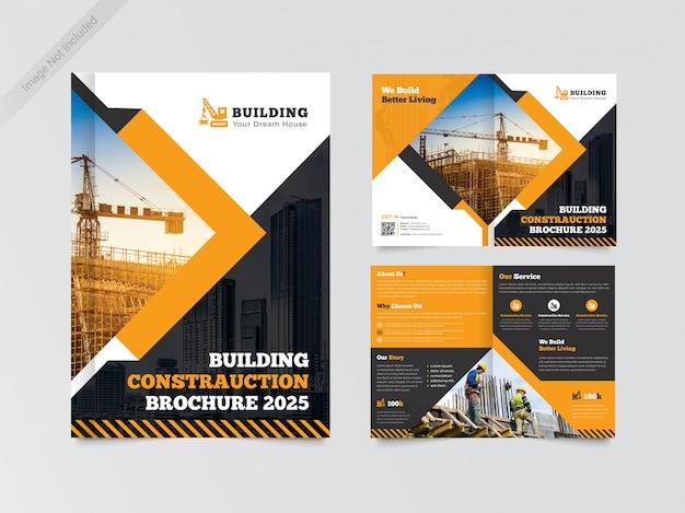 Modelo de design de brochura de construção bi-fold