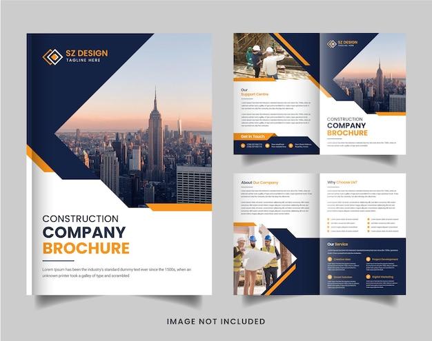 Modelo de design de brochura de construção moderna com formas geométricas de cor amarela e preta