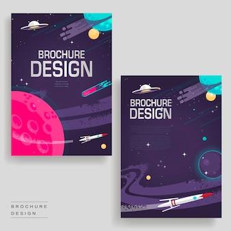 Modelo de design de brochura de desenho animado com cenário do espaço sideral