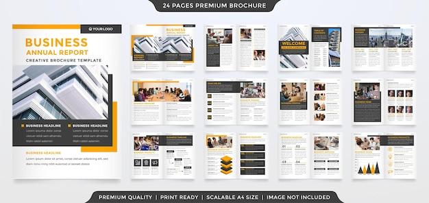 Modelo de design de brochura de negócios a4 com estilo minimalista e clean