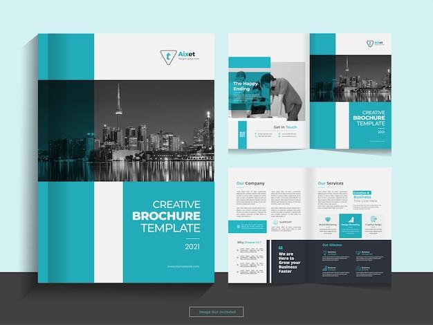Modelo de design de brochura de negócios com dobra dupla corporativa limpa