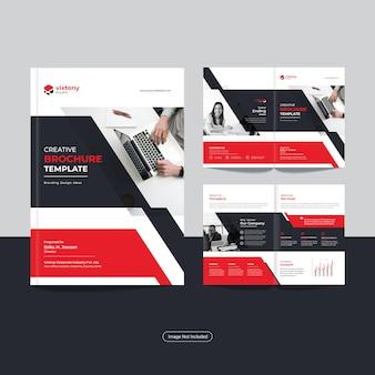 Modelo de design de brochura de negócios com dobra dupla corporativa