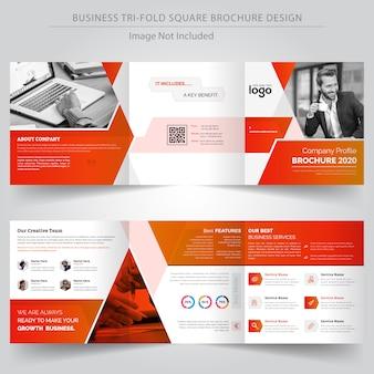 Modelo de design de brochura de negócios com três dobras quadrada