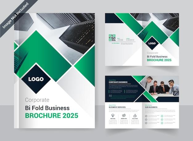 Modelo de design de brochura de negócios corporativo bi-fold layout criativo colorido e moderno