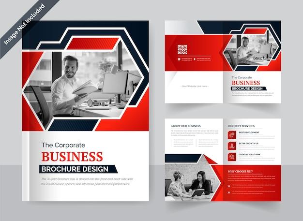 Modelo de design de brochura de negócios corporativo com duas dobras em vermelho e preto layout criativo e moderno