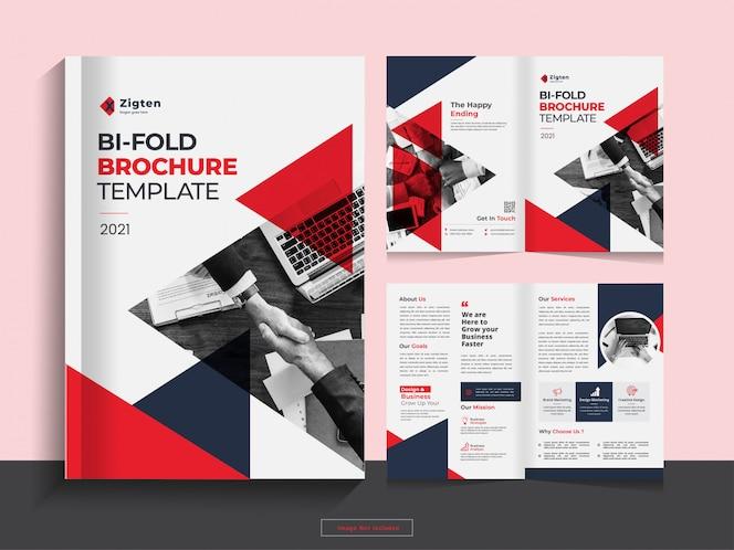 Modelo de design de brochura de negócios corporativos bi-fold limpo em formato a4.